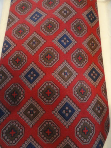 Vtg Men's Abstract ADOFO ROSSINI Tie Red Blue Brown Handmade Silk Unknown Tag