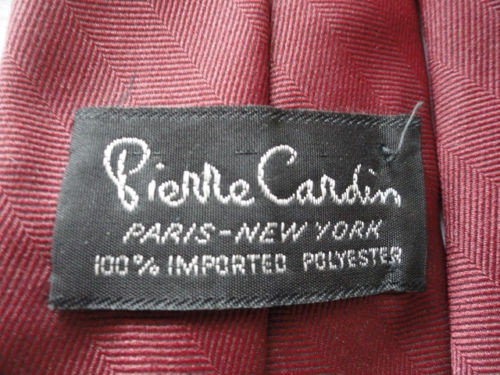 Vintage Men's Pierre Cardin Tie Burgundy Paris New York 100% Imported Polyester