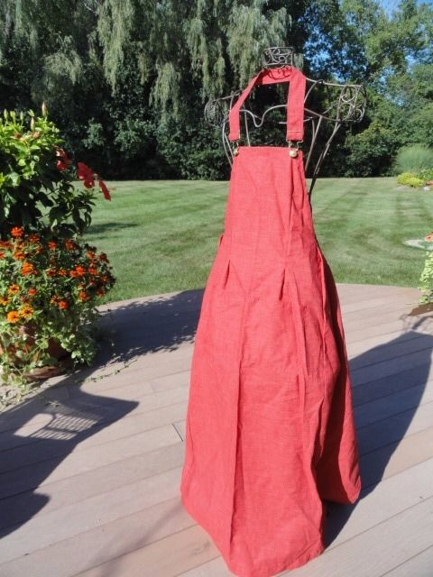 Vintage 60's Red IN GOOD COMPANY San Francisco Smock Apron Neck Clasp NWOT