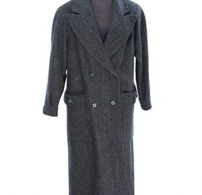 Vintage Women's BILL BLASS Maxi Coat 100% Wool Tweed Dbl Breasted Cloaked Back L