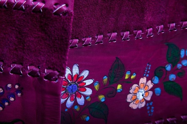 Vintage 1973 CHAR Leather Jacket Skirt Hand Painted Hand Stitched Mexico Signed