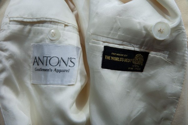 Men's Anton's 100% Wool Dble Br Beige Sports Coat Jacket  40 R Preowned Ex Con