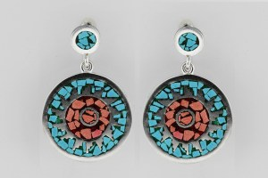 Vtg Dble Circle Drop Earrings Sterling Silver Inlaid Turquoise Coral Mexico 925