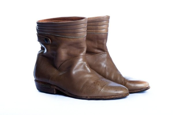 Vintage Men's   ALDO Gold Plaque Lite Brown Leather Boots Italy Size 41 Pre-own