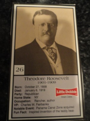 Vintage Little Debbie 1992 Presidential Trading Card #26 Theodore Roosevelt