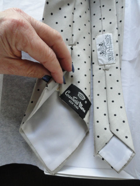 Vintage Men's Countess Mara New York Tie Beige Black Polka Dots All Silk NWOT