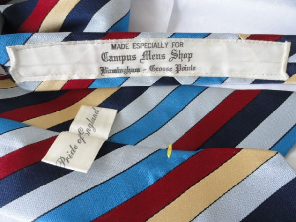 Vintage Men's Pride of England Striped Briar Tie Made for Campus Men's Shop NWOT