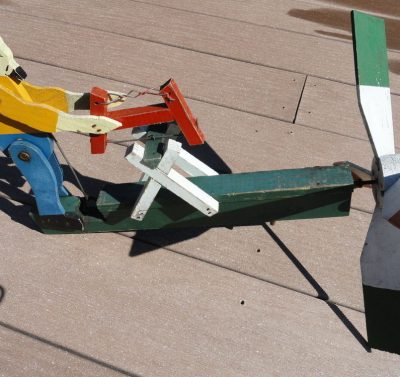 Vintage Folk Art WHIRLIGIG Primitive Painted Wood & Metal Old Man Sawing c 1930s