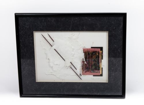 Kathy Sheldon Michigan Artist Mixed Media Relief Collage On Handmade Paper Frame