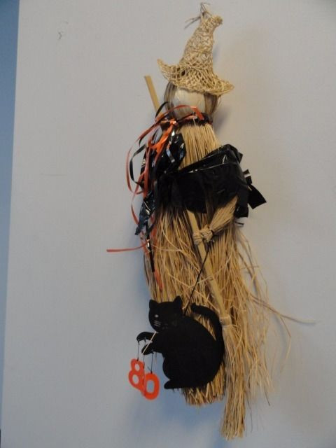 Halloween Witch Straw Witch Hat Black Metal Cat BOO Broom One Of A Kind 23 x 6