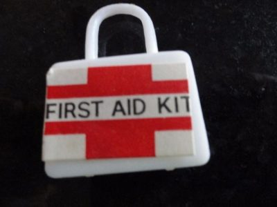 "Vintage 60's Doll House Miniature Plastic First Aid Kit 1"" x 1 1/2"" Ex Cond"