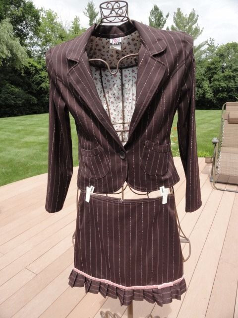 Zoey Girl 2 Piece Jacket & Skirt Outfit Brown Pink Pinstripe Preowned Ex Cond