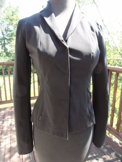 Women's Black Kenneth Cole Blazer Size 4 Zipper Front Side Zip Pockets NWOT