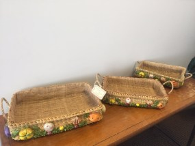Vtg EDWARD HECHT Importer 3 Nesting Baskets Handmade Straw Vegetables Philippine