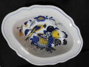 "Copeland Spode Blue Bird Pattern England  Vintage 10"" Oval Vegetable Bowl Mint"
