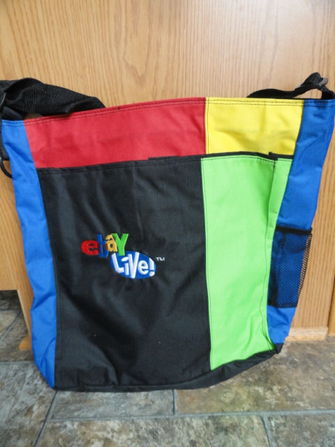 EBAY LIVE 2008 Chicago New Multicolored Zip Tote 15x16.5x3.5 Blue Side Pocket