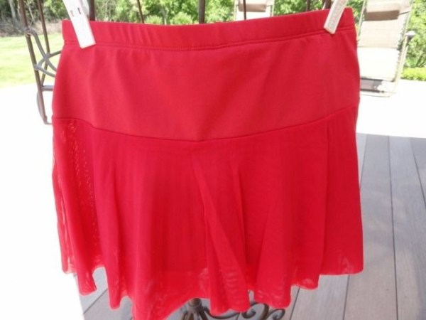Women's Deep Red Peachy Tan PL Sportwear Tennis Outfit Top M Skirt Skort XS NWOT
