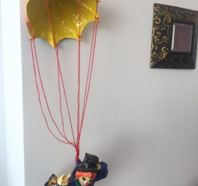 Vtg 1973 Paper Mache Tlaquepaque Mexico Clown & Parachute Suspended Red String