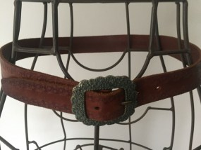 Vtg Brown Female Linea Pelle Leather Belt Hand Tooled Handmade in China Size S