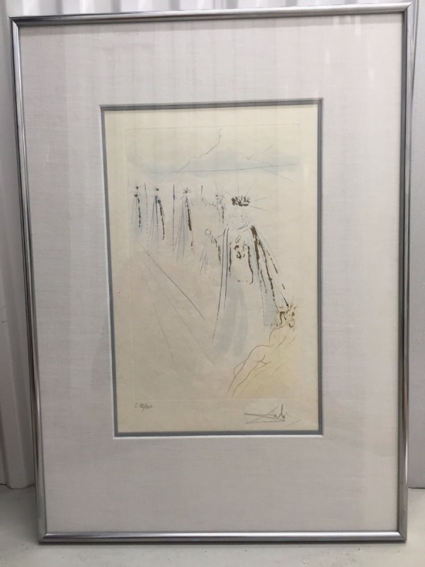 """Salvador Dali 1971 """"The King's Train"""" Song of Songs of Solomon Suite COA Ewell"""