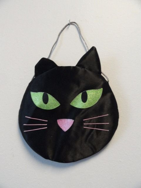 "Vintage 80's Halloween Black Cat Mini Purse 5"" With Silver Handle Velcro Closure"