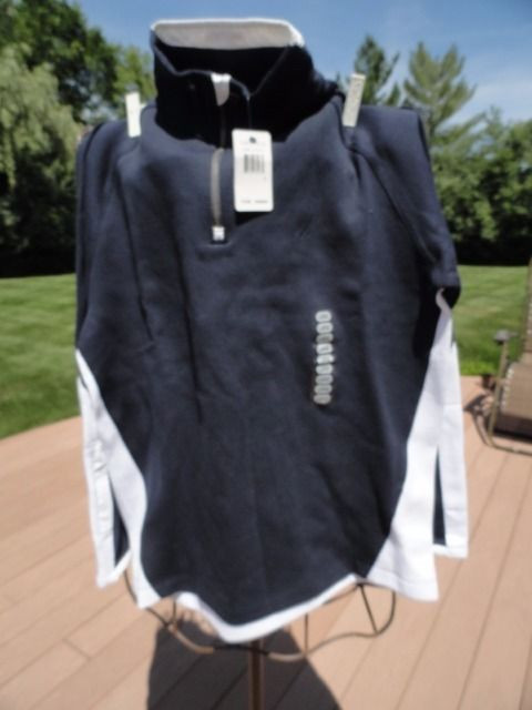 "NAUTICA Navy Blue White 1/4"" Front 9"" Zipper Pull Over KO 1850 L NWT"