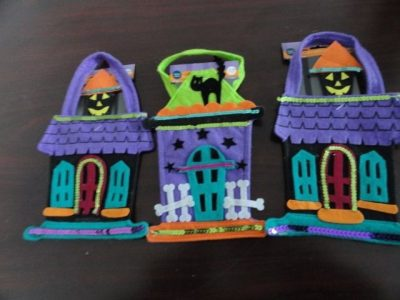 "Halloween Spooky Hollows 9"" Felt Trick Or Treat 3 Bags New"