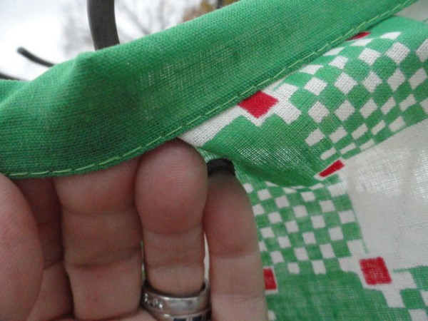"""Vintage 1960's Green White Red Check Square Pattern Scarf 100% Cotton 18""""x18"""""""
