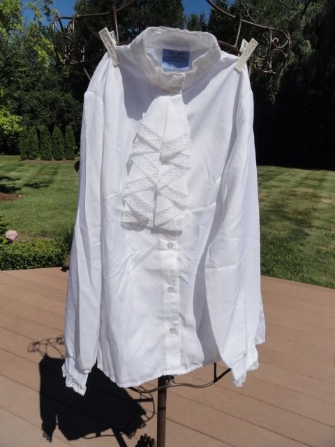 Vintage Girl's Loch Linnlii White Blouse With Ascot Made In Britain Size 12