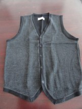 Michael Brandon Black Button Down Vest  70% Wool Men's Large NWOT