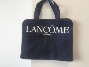 Vtg 1970's Navy Blue LANCOME Tote Purse Handbag Pocket With Snap NWOT