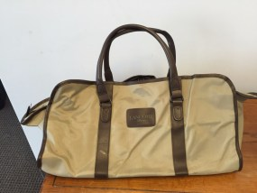 "Vtg 1970's LANCOME Paris Oversize Tote Satchel Bag Brown Beige NWOT 16"" Pockets"