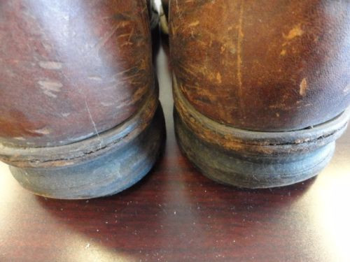 Vtg Army 1941 BATES SHOE CO  Steel Toe Boots 585 Contract June 30, '41 Boston 8