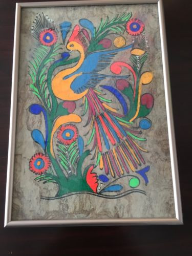 Vintage Amate Bark Painting Mexico Folk Art Mythical Orange Peakcock Bird Framed