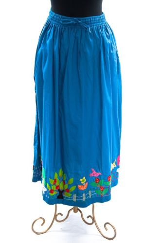 Vtg  EL CONDOR Blue Multi Colored Handmade Maxi Skirt Applique Girl Flower Small