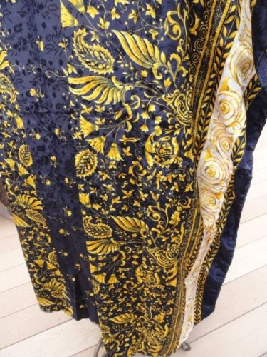 Women's SANTE Maxi Caftan Dress Kaftan Paisley Motif Blue Gold One Size Preown