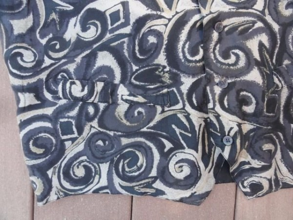 Vtg Men's Robert Stock 100% Silk Black & Silver Paisley Vest Retro Mod Pockets L