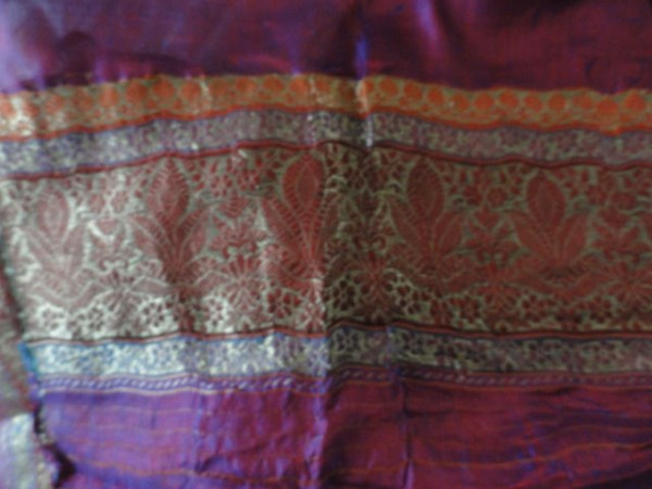 Vintage Deep Maroon, Gold, Orange Leaf Pattern Scarf Made in India Shimmery
