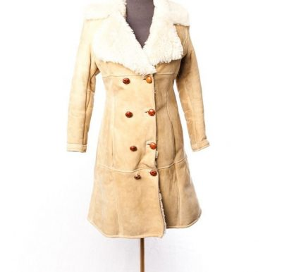 Vtg  1973 Women's Hand Made Shearling Dble Breasted Leather Coat Made In Turkey
