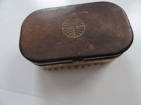 Vtg 60's Leather PAN AM Nail Kit Brush D. B.G. M. Made In West Germany Preowned