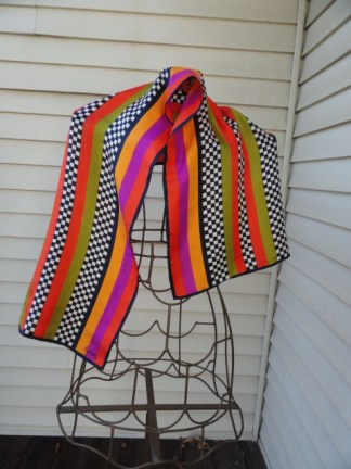 Vintage 1970's Echo Multi Colored Striped Checked All Silk Scarf Echo Logo