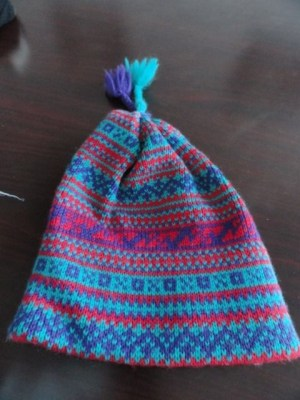 Smiley Winter Hat Beanie Tassels Blue Reds Turquoise 100% Pure Wool NWOT USA