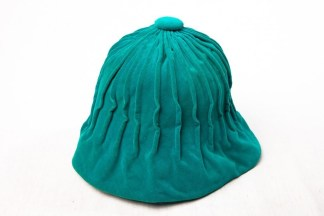 Vintage Saks Fifth Avenue Teal Gathered Velvet Beanie Hat Gold Lettering