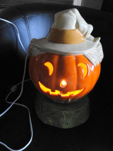 Ceramic Handmade 1983 Signed 2 Piece Pumpkin Halloween Lamp With Base Glazed