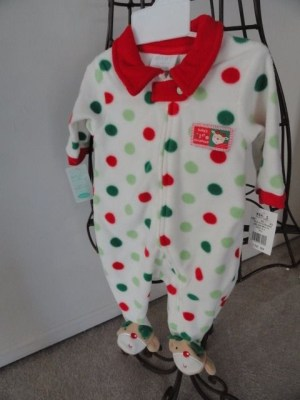 BABY By Bon Bebe Baby's First Christmas One Piece 0-3 Mos. Fleece Bear NWT