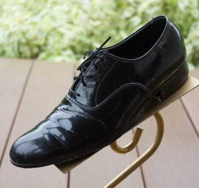 Vtg Men's Black Patent Leather MOHAN's LTD Formal Dress Tie  Shoes Size 8