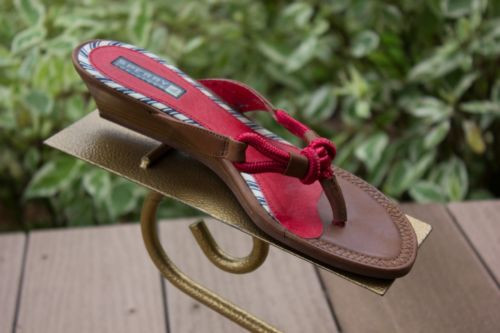 """Women's Sperry Topsider Red Brown Wood Sandals Size 6 1/2"""" M Excellent Condion"""