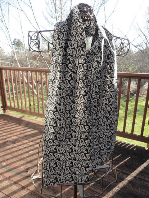 Vintage 1960's Black & White Paisley Cotton Ascot Scarf Doubled Sided Cravat