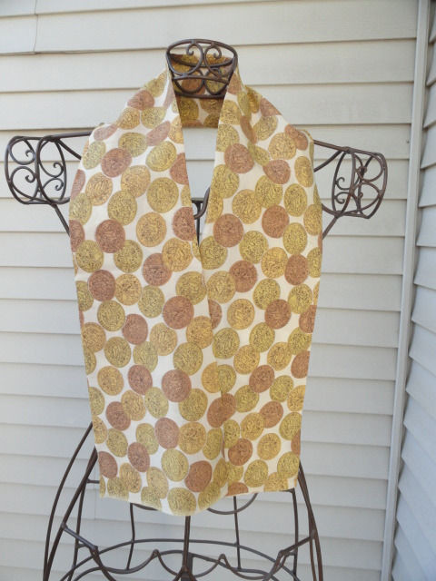"Vintage 1960's Gold Brown ""Roman Coin"" Pattern Ascot, Cravat Cotton So Unique"