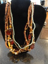 Costume Fashion Necklace 7 Layers Blue Gold Blush Colored Beads Oranges Yellows